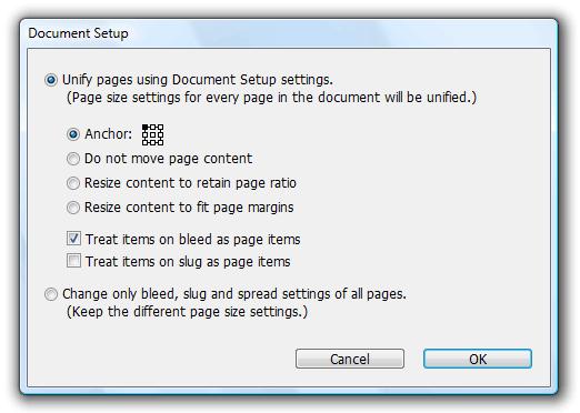 Document setup additional options