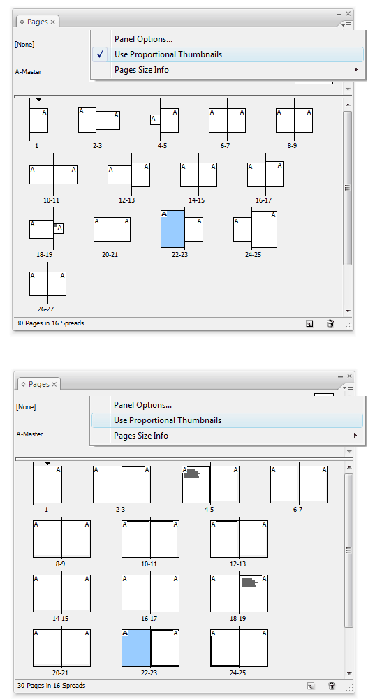 Proportional vs. Standard Thumbnails